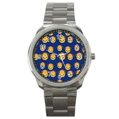 Monkeys Seamless Pattern Sport Metal Watch