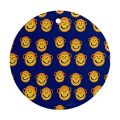 Monkeys Seamless Pattern Round Ornament (two Sides)