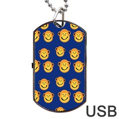 Monkeys Seamless Pattern Dog Tag USB Flash (One Side)