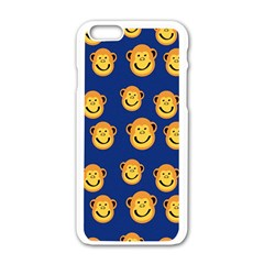 Monkeys Seamless Pattern Apple Iphone 6/6s White Enamel Case