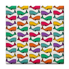 Small Rainbow Whales Tile Coasters
