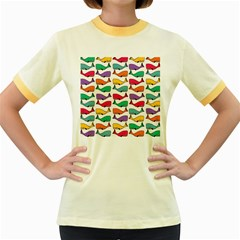 Small Rainbow Whales Women s Fitted Ringer T-Shirts