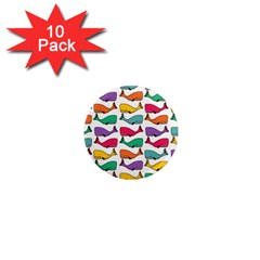 Small Rainbow Whales 1  Mini Magnet (10 Pack)