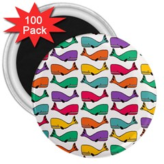 Small Rainbow Whales 3  Magnets (100 Pack)