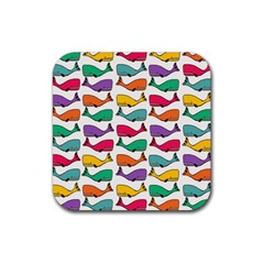 Small Rainbow Whales Rubber Coaster (square)