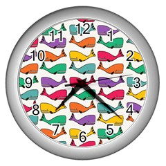 Small Rainbow Whales Wall Clocks (Silver)