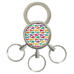 Small Rainbow Whales 3-Ring Key Chains