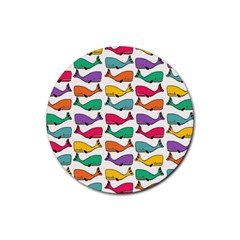 Small Rainbow Whales Rubber Round Coaster (4 Pack)