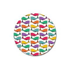 Small Rainbow Whales Magnet 3  (Round)