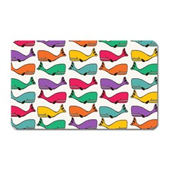 Small Rainbow Whales Magnet (Rectangular)