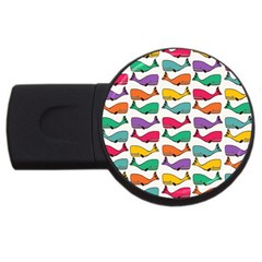 Small Rainbow Whales USB Flash Drive Round (2 GB)