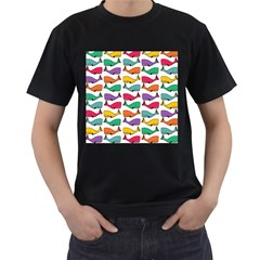 Small Rainbow Whales Men s T-Shirt (Black) (Two Sided)