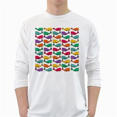 Small Rainbow Whales White Long Sleeve T-Shirts