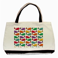 Small Rainbow Whales Basic Tote Bag
