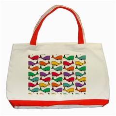 Small Rainbow Whales Classic Tote Bag (red)