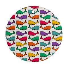 Small Rainbow Whales Round Ornament (two Sides)