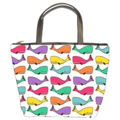 Small Rainbow Whales Bucket Bags