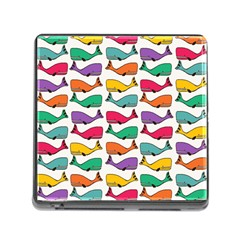 Small Rainbow Whales Memory Card Reader (Square)