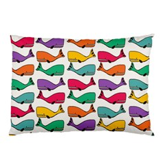 Small Rainbow Whales Pillow Case (Two Sides)