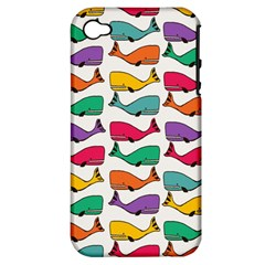 Small Rainbow Whales Apple iPhone 4/4S Hardshell Case (PC+Silicone)