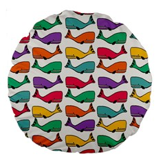 Small Rainbow Whales Large 18  Premium Round Cushions