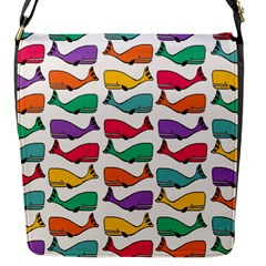 Small Rainbow Whales Flap Messenger Bag (S)
