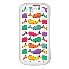 Small Rainbow Whales Samsung Galaxy S3 Back Case (white)