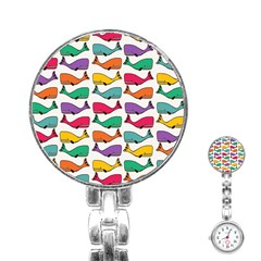 Small Rainbow Whales Stainless Steel Nurses Watch