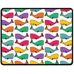 Small Rainbow Whales Double Sided Fleece Blanket (Medium)