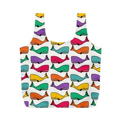Small Rainbow Whales Full Print Recycle Bags (M)