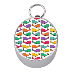 Small Rainbow Whales Mini Silver Compasses