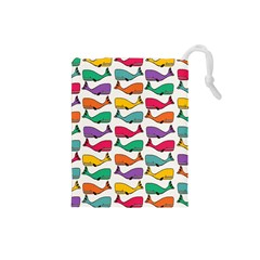 Small Rainbow Whales Drawstring Pouches (Small)
