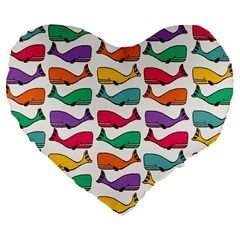 Small Rainbow Whales Large 19  Premium Flano Heart Shape Cushions