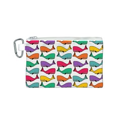 Small Rainbow Whales Canvas Cosmetic Bag (S)