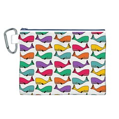 Small Rainbow Whales Canvas Cosmetic Bag (l)