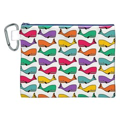 Small Rainbow Whales Canvas Cosmetic Bag (XXL)