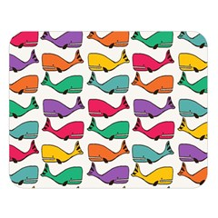 Small Rainbow Whales Double Sided Flano Blanket (large)