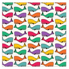 Small Rainbow Whales Large Satin Scarf (square)
