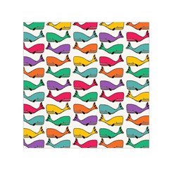 Small Rainbow Whales Small Satin Scarf (Square)
