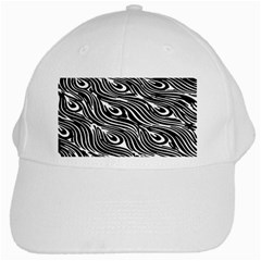 Digitally Created Peacock Feather Pattern In Black And White White Cap
