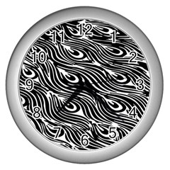Digitally Created Peacock Feather Pattern In Black And White Wall Clocks (Silver)