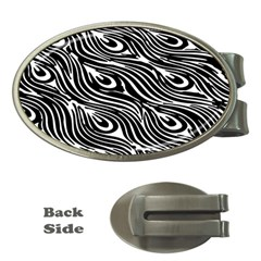 Digitally Created Peacock Feather Pattern In Black And White Money Clips (Oval)