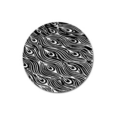 Digitally Created Peacock Feather Pattern In Black And White Magnet 3  (Round)