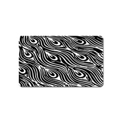 Digitally Created Peacock Feather Pattern In Black And White Magnet (name Card)