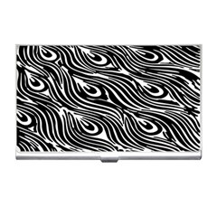 Digitally Created Peacock Feather Pattern In Black And White Business Card Holders