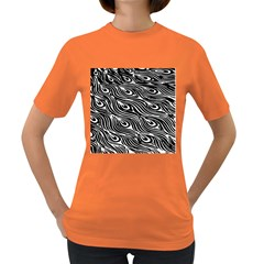 Digitally Created Peacock Feather Pattern In Black And White Women s Dark T-Shirt