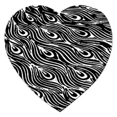Digitally Created Peacock Feather Pattern In Black And White Jigsaw Puzzle (heart)