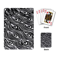 Digitally Created Peacock Feather Pattern In Black And White Playing Card