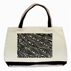 Digitally Created Peacock Feather Pattern In Black And White Basic Tote Bag