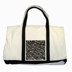 Digitally Created Peacock Feather Pattern In Black And White Two Tone Tote Bag